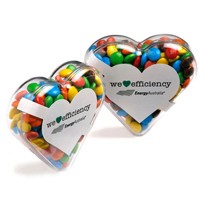 Acrylic Heart Filled with Mini M&Ms
