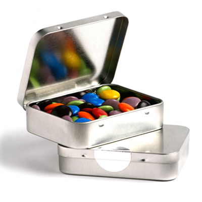 Rectangle Hinge Tin Fillled with Choc Beans 65g