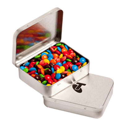 Rectangle Hinge Tin Fillled with M&Ms 65g