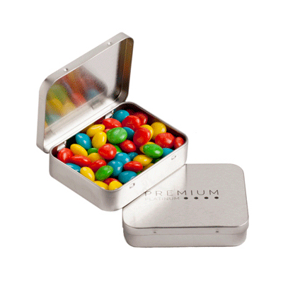 Rectangle Hinge Tin Filled with Chewy Fruits