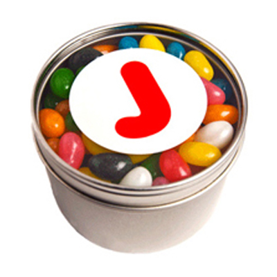Small Round Acrylic Window Tin Fillled with Jelly Beans
