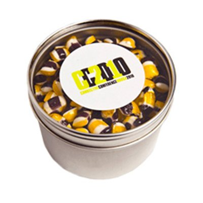 Round Window Tin Fillled with Tiny Humbugs
