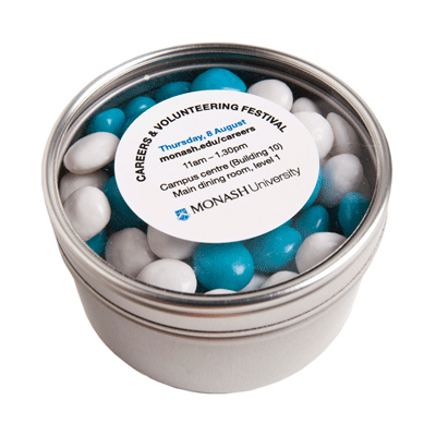 Small Round Acrylic Window Tin Fillled with Chewy Fruit