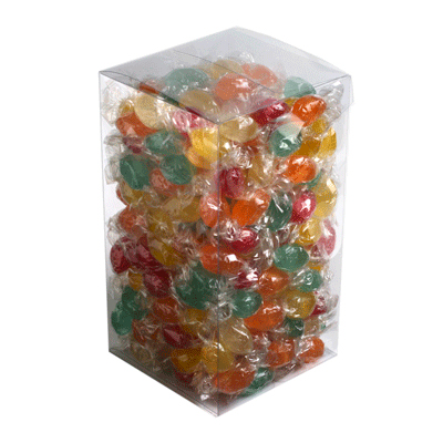 Big PVC Box Filled with Wrapped Boiled Lollies