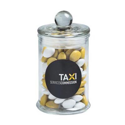 Small Apothecary jar filled with Choc Beans
