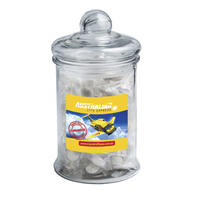 Big Apothecary Jar Filled With Big Chewy Mints