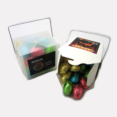 White Noodle Box Filled With Easter Eggs