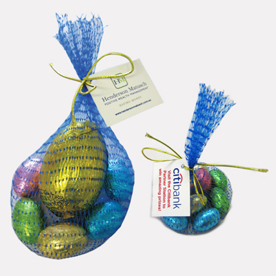 Mesh Bag With Tag Filled With Easter Eggs