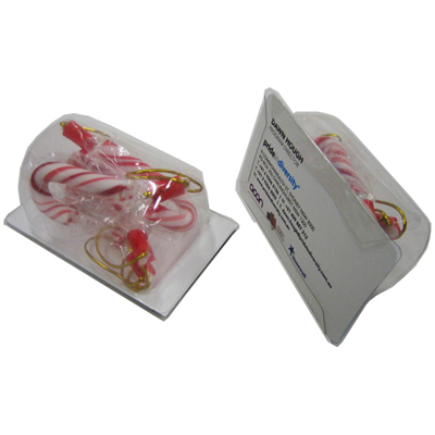 Biz Card Treats with Candy Canes