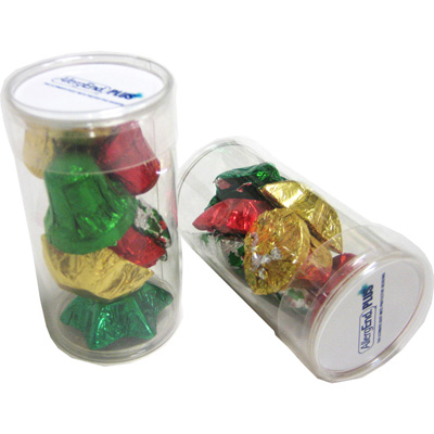 Pet Tube Filled with Christmas Chocolates