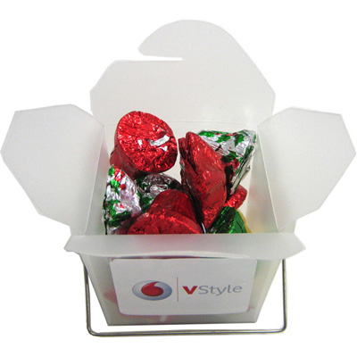 Frosted Noodle Box Filled with Christmas Chocolates