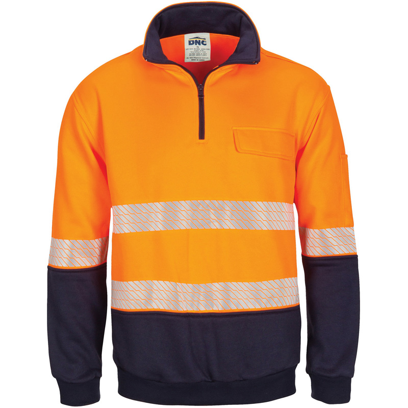 DNC Hi Vis Taped Half Zip Fleecy Windcheater