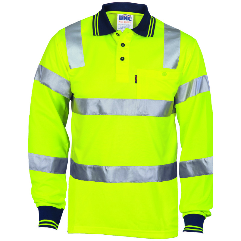 DNC Hi Vis Biomotion Tapped Polo L/S