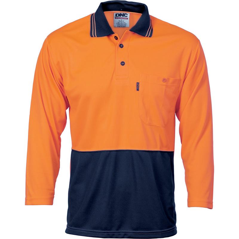 DNC HiVis Polo Shirt, S/S, 3/4, L/S