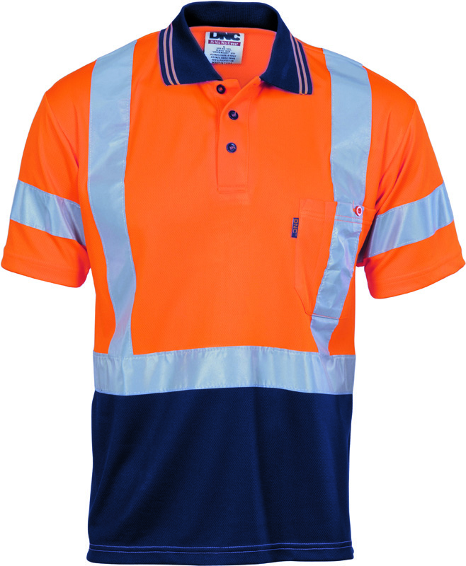 DNC Hi Vis Cool Polo Cross Back R/Tape