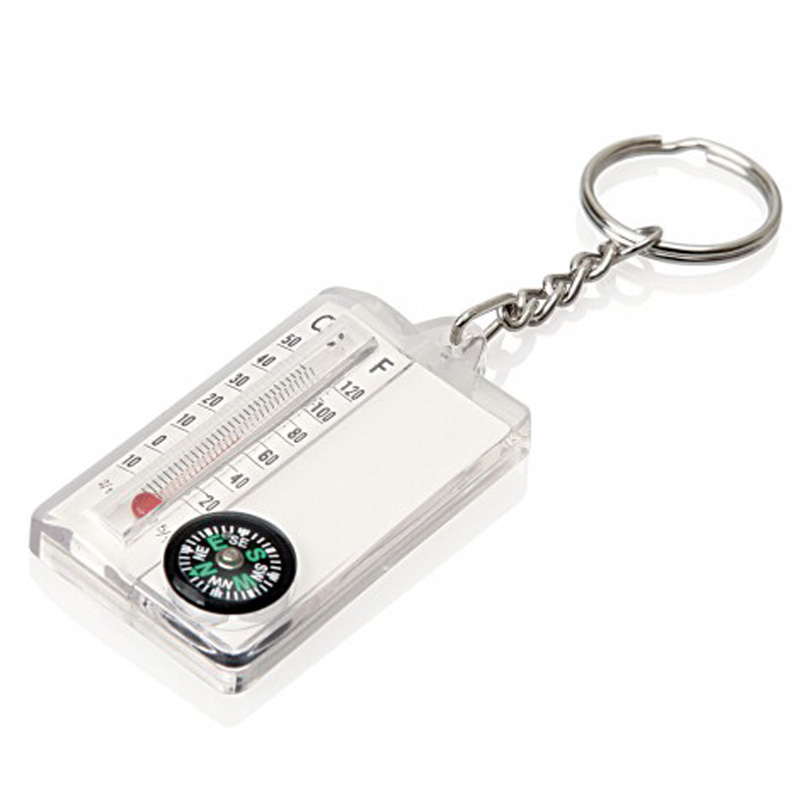 Thermometer Compass Keyring