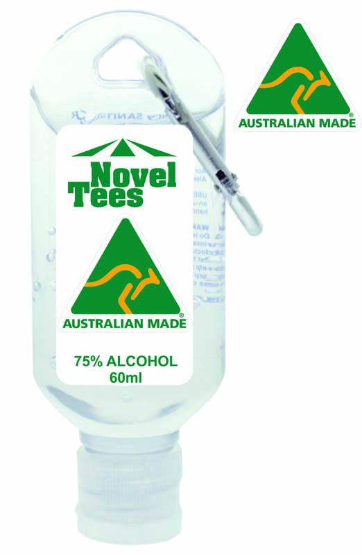 60ml Sanitiser Made in Australia With Cararbiner