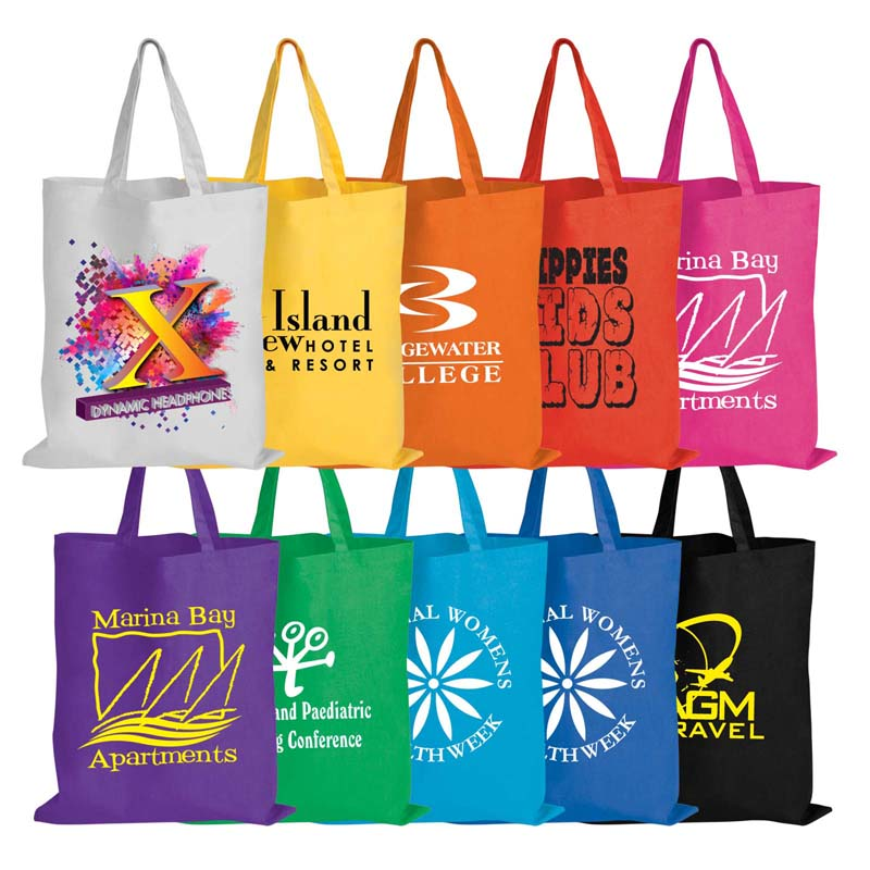 Coloured Printed Cotton Tote Bag - 140 GSM