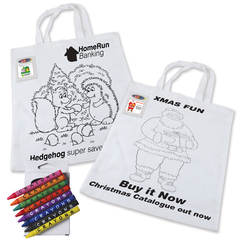 Colouring in Short Handle Cotton Tote Bag with Crayons