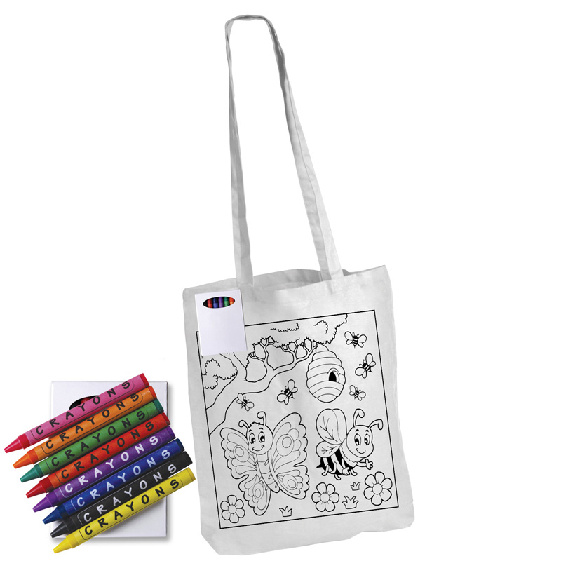 Colouring Long Handle Cotton Tote Bag with Crayons