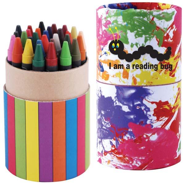 Custom Design Assorted Colour Crayons in Cardboard Tube