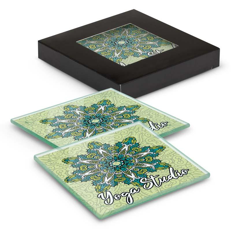 Venice Glass Coaster Set of 2 Square - Full Colour